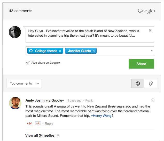 اهرم نظرات در گوگل پلاس
