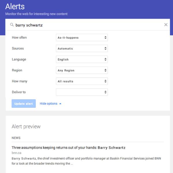 مدیریت هشدارها در Google Alert