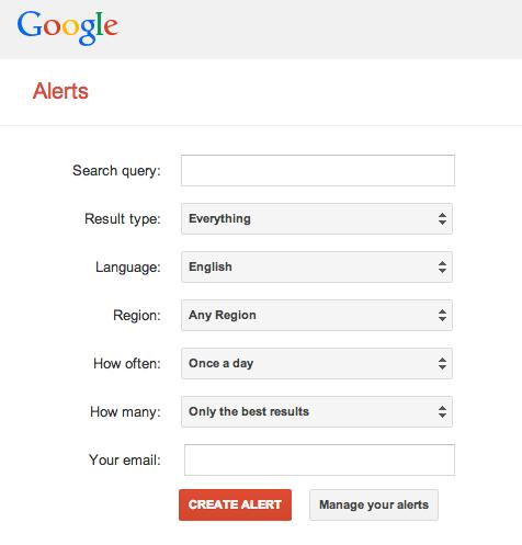 رابط قدیمی Google Alerts