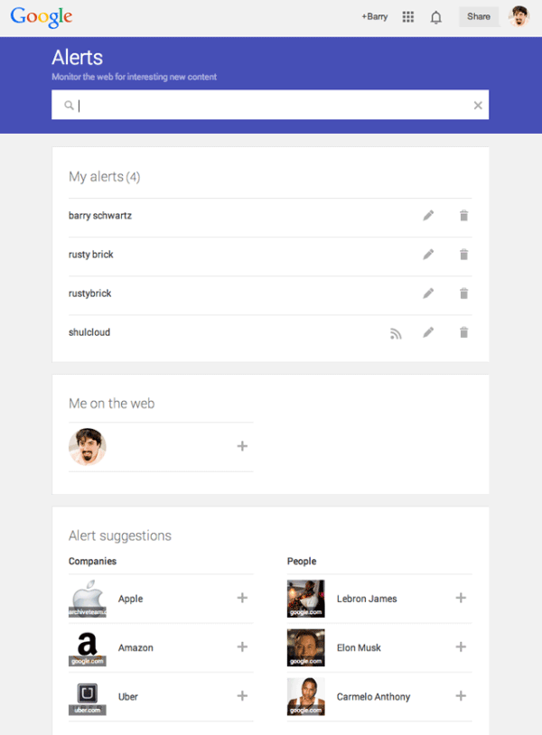 رابط کاربری جدید Google Alerts