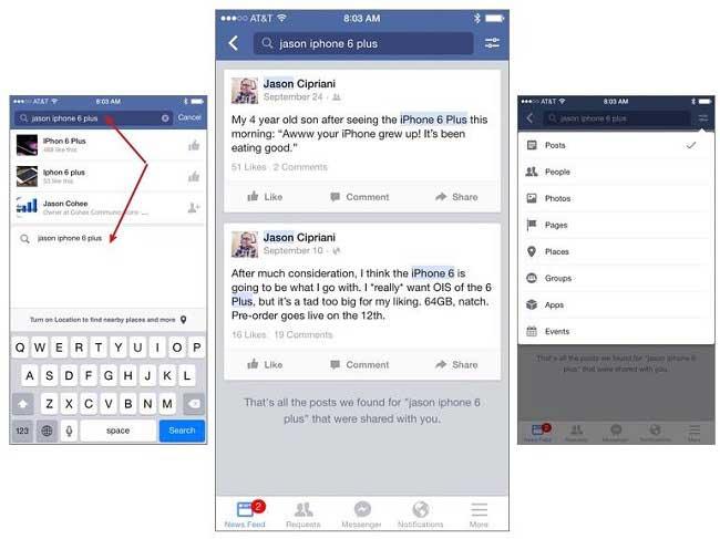 کلمات کلیدی در جستجوی پست های قدیمی در فیس بوک