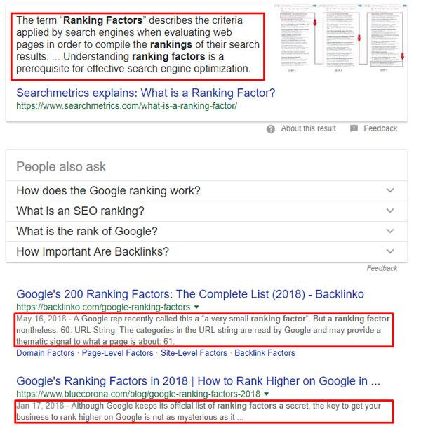 فاکتورهای رتبه بندی گوگل