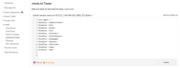 اضافه کردن فایل robots.txt به گوگل وبمستر تولز