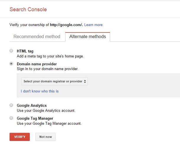 روش سوم افزودن سایت به گوگل وبمستر