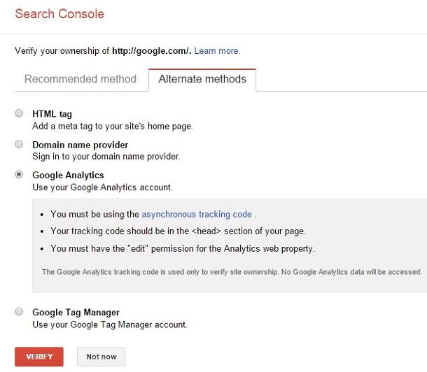 روش چهارم افزودن سایت به گوگل وبمستر
