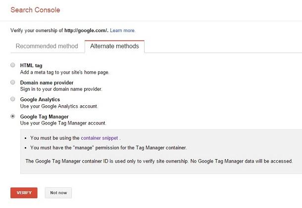 روش پنجم افزودن سایت به گوگل وبمستر