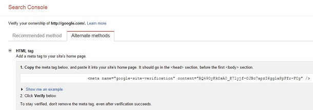 روش دوم افزودن سایت به گوگل وبمستر